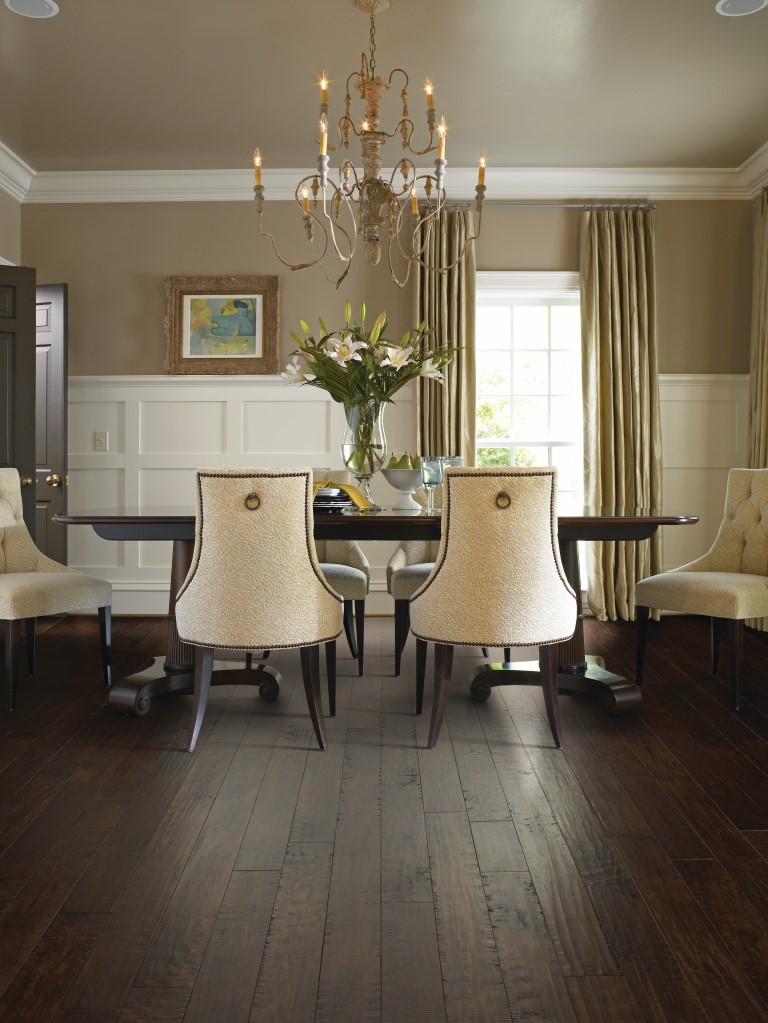 Maple Hardwood Flooring in luxurious dining room