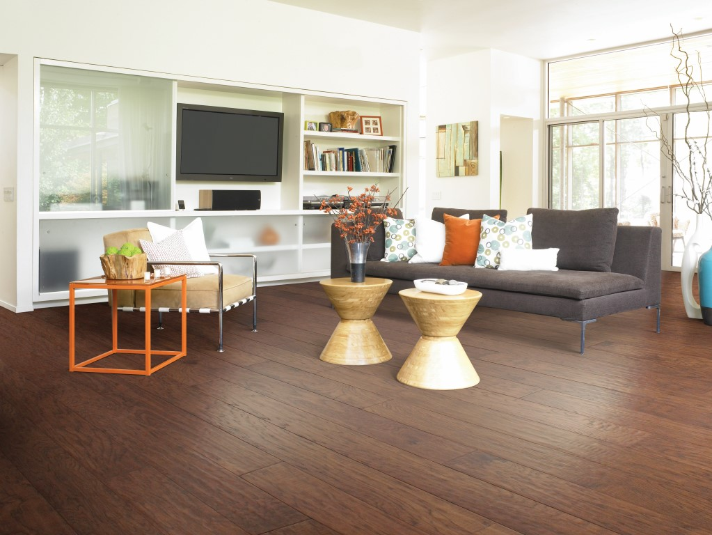 Modern living space with hardwood floors
