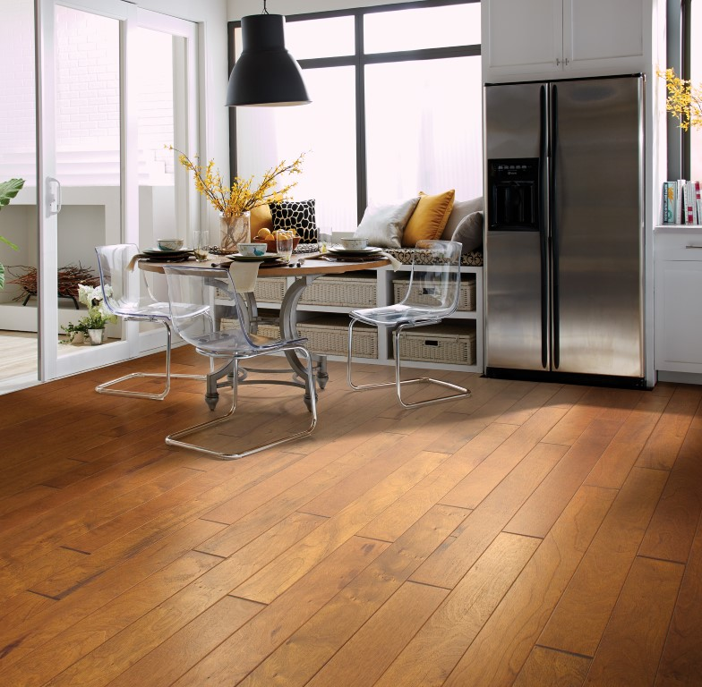 Contemporary city kitchen with wood flooring in Chicago, IL