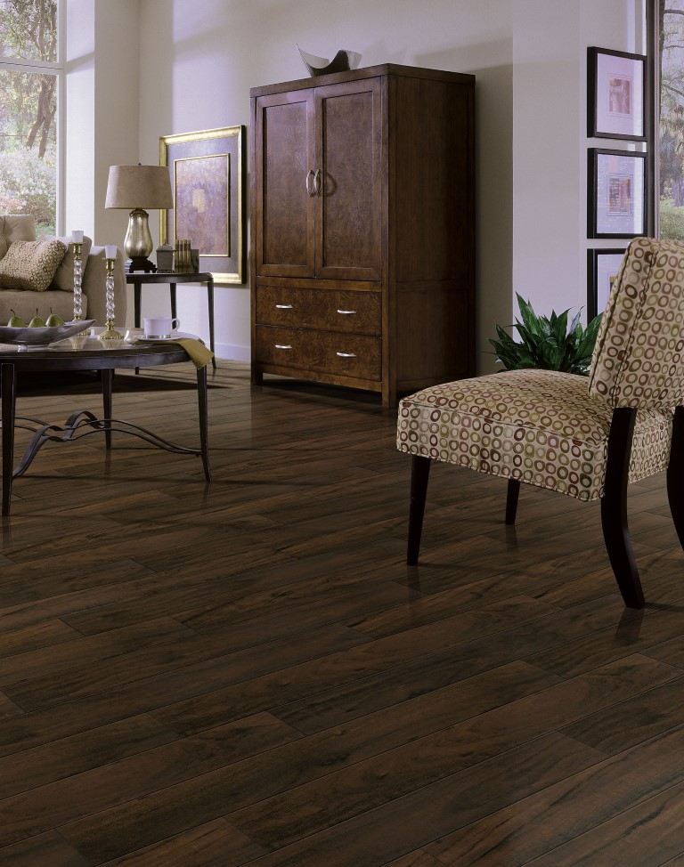 Dark engineered wood flooring